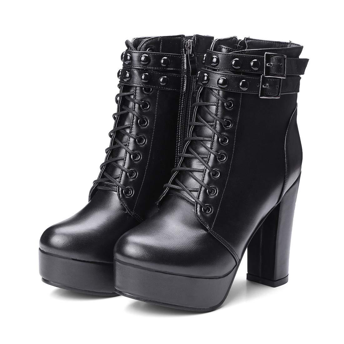 DANDANJIE Damenschuhe Comfort Basic Pump Stiefel Wanderschuhe Blockabsatz Stiefeletten für den Herbst Winter