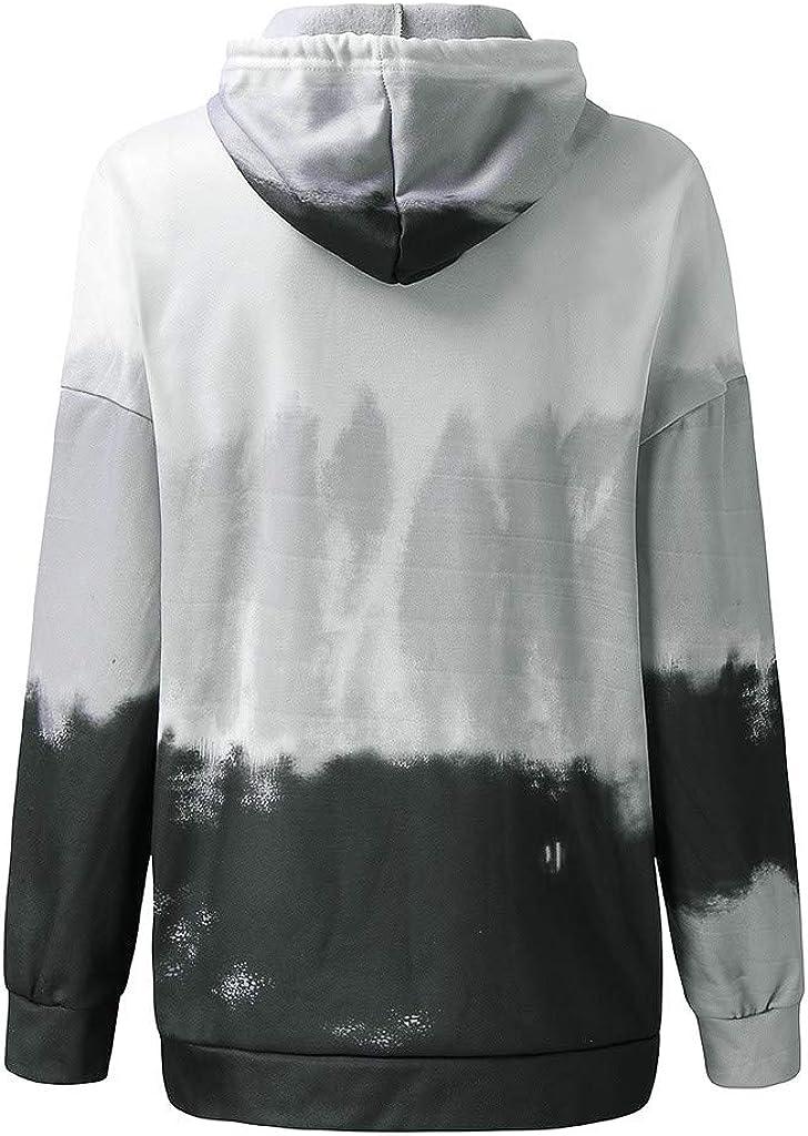 Womens Tie Dye Hoodie Pastel Gradient Long Sleeve Drawstring Hooded Sweatshirt Pullover Blouse Tops