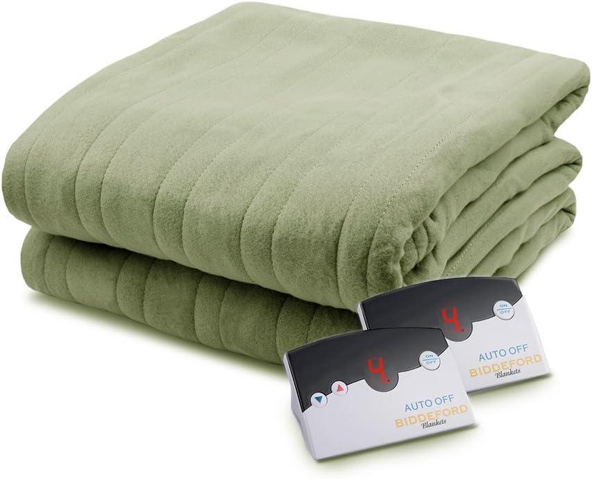 Biddeford 1003-9052106-633 Comfort Knit Fleece Electric Heated Blanket Queen Sage Green