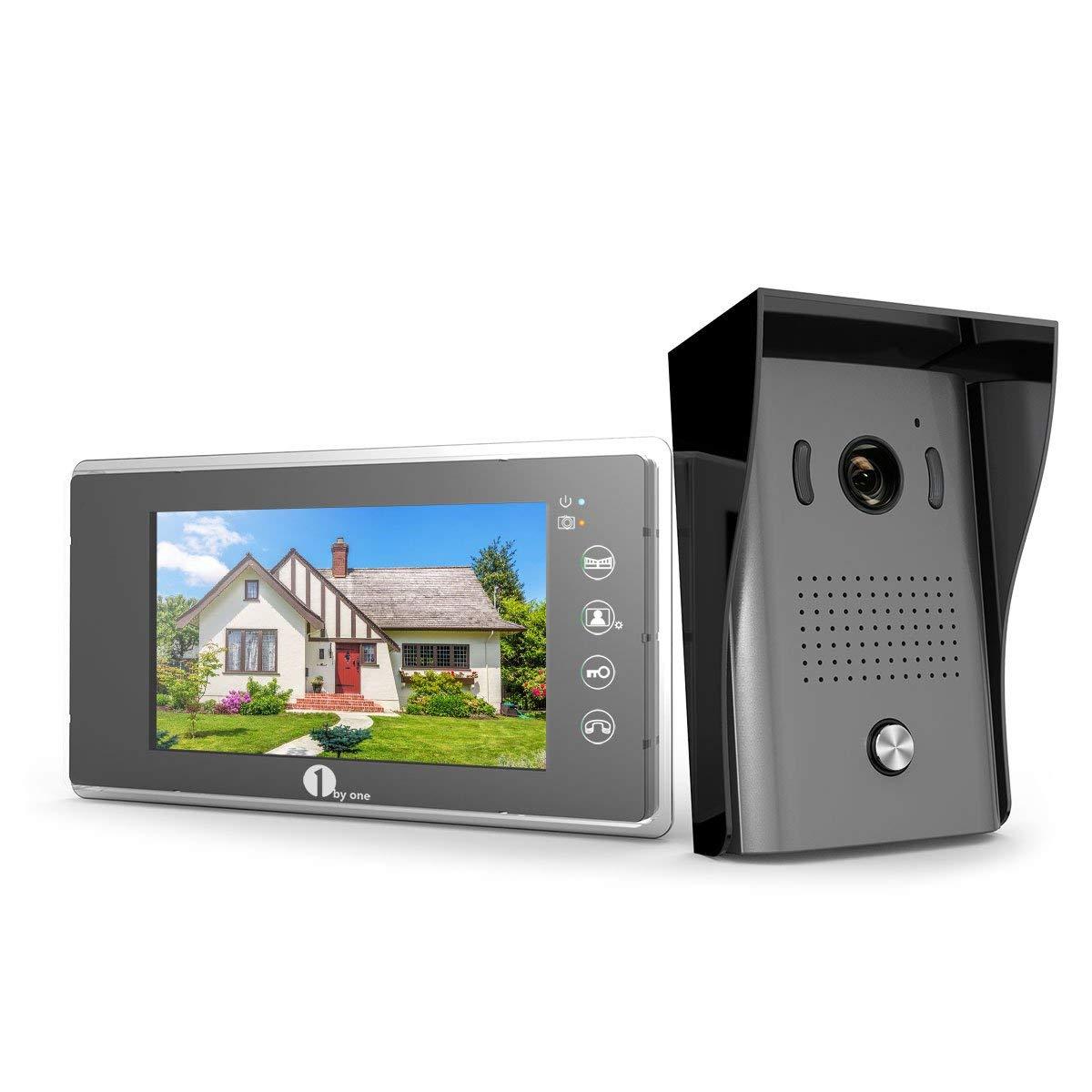 2 C/âbles Vid/éo Syst/ème Intercom avec 1G S 1 x Moniteur Ecran Vid/éo 7-Pouce et cam/éra HD avec 125 cm de C/âbles 1 x Sonnette dExt/érieure 120/° Angle Visuelle Vision Nocture IR 1Byone Visiophone Couleurs