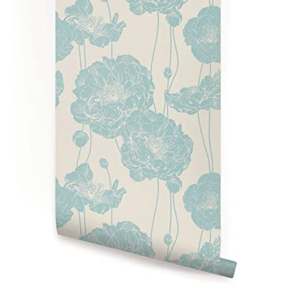 Peony Wallpaper - Mint Blue - 2 ft x 4 ft - Single - by Simple Shapes - - Amazon.com