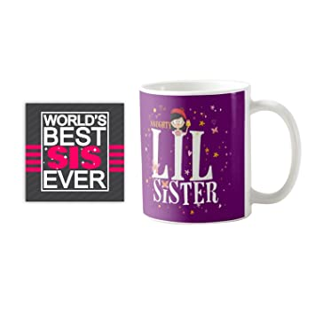 YaYa CafeTM Birthday Gifts For Sister Naughty Lil Printed Ceramic Coffee Mug Coaster