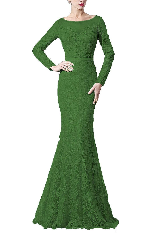 Dark Green SDRESS Women's Lace Mermaid Evening Dress with Sleeves Crystal Beaded Formal Dress Long
