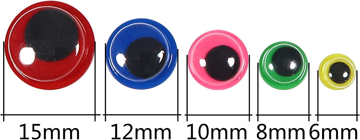 TOAOB 262pcs Plastic Googly Wiggle Eyes Self-Adhesive 6mm to 15mm Mixed Colors and Sizes Sticker Eyes for DIY Crafts Scrapbooking Decoration
