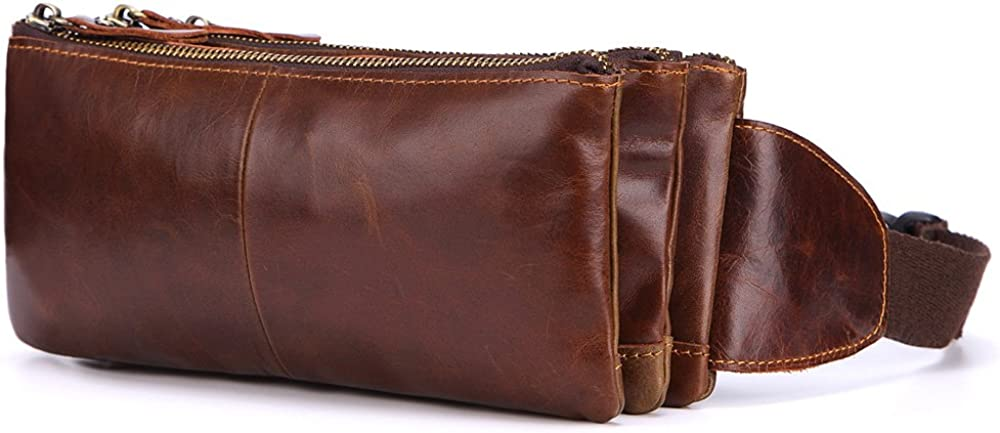 Paquete de cintura for hombre Monedero de cuero Bolso cruzado Capa inicial de cuero Deportes y ocio Paquete de teléfono nómada Bolso de pecho vintage Mochila