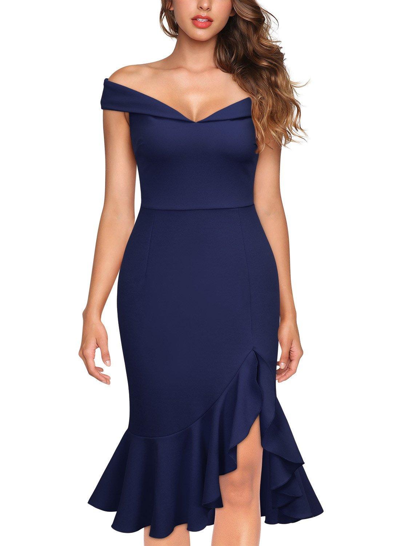 Knitee Women's Off Shoulder Elegant Slim Style Evening Party Dress