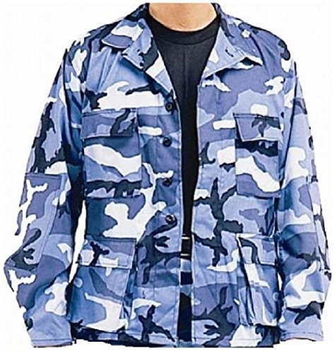 Sky Blue Camouflage Military Combat Tactical Poly/Cot Fatigue Bdu Shirt - Sky Blue Camo Bdu Shirt