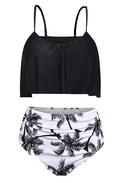 Amazon.com: byoauo para mujer Cintura Alta Bikini fina ...