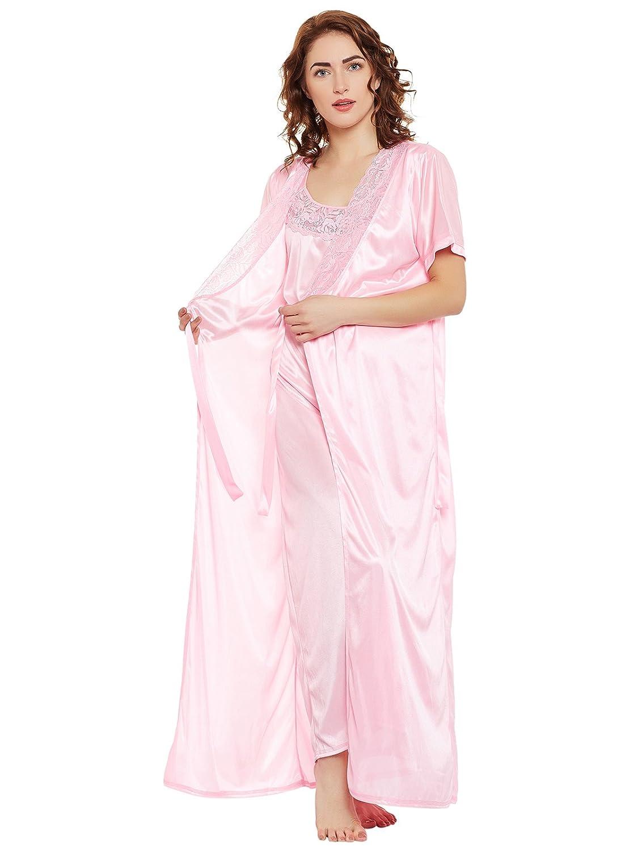 4baaba71af Clovia womens satin nighty robe set pink free size clothing accessories jpg  1125x1500 Satin nighty