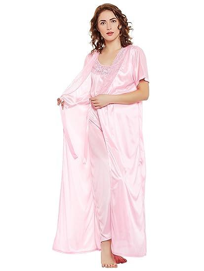 79cb93f513b5 Clovia Women s Satin Nighty   Robe Set (NSM389G62 Pink Free Size ...