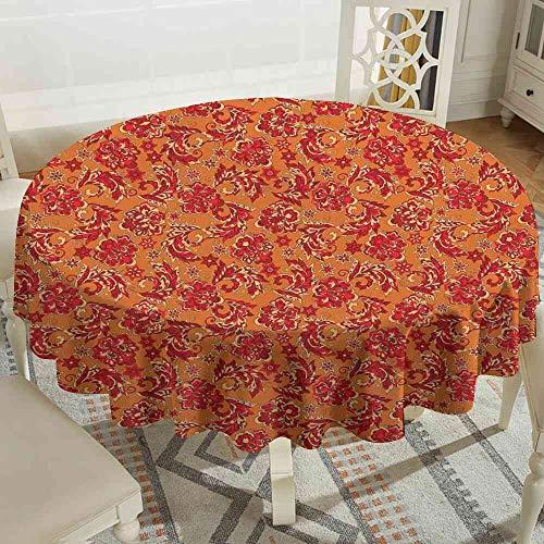 LOUTAN Tablecloth Batik,Nostalgic Western European Medieval Renaissance Inspired Eastern Bohemian Pattern,Red Orange Tablecloth Square Floral Size:D47