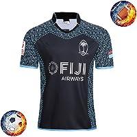 Qinsir Rugby Training Jersey Camiseta,Rugby World Cup T-Shirt,Camiseta De La Selección Fiyi De Fútbol para El Mundial 2019 Home Camiseta De Fútbol Camisetas De Rugby para Hombre Negro