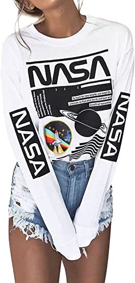 NASA ASTRONAUT PRINT SPACE WITH USA FLAG ON LEFT ARM GIRLS WOMENS  KIDS CROP TOP
