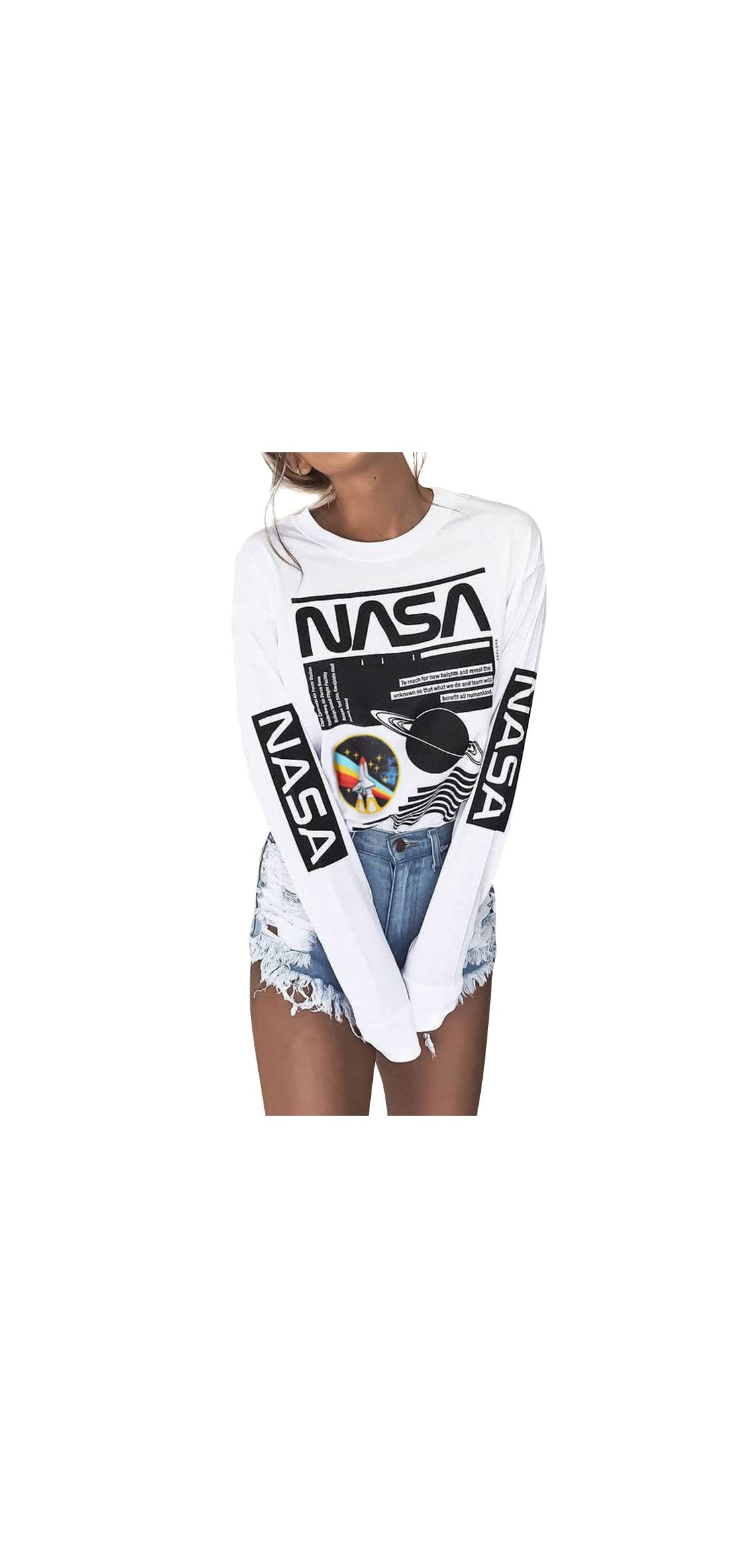 Crew Neck Long Sleeve Letter Printed Shirt Graphic Tee