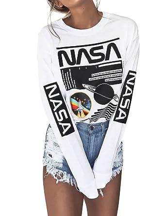 35418149527c19 WLLW Women Long Sleeve Crew Neck NASA Letter Print NASA Shirt Blouse  Sweatshirt. Roll over image to ...