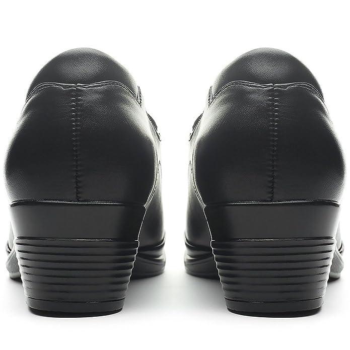 Mocasines Planos Negros para Mujer - Cestfini Los cómodos Zapatos de cuña para Mujer, Hechos en Cuero de imitación Impermeable, Son Aptos para la Escuela, ...