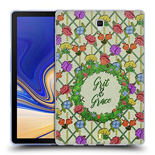 Head Case Designs Grit and Grace Printed Embroidered Quotes Soft Gel Case for Samsung Galaxy Tab S4 10.5 (2018)