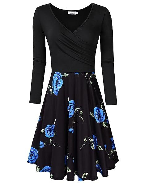 666d8d08e620 MISSKY Women s V-Neck A Line Long Sleeve Skater Dress (Black Blue Flower