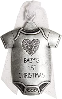 product image for Gloria Duchin 2019 Baby's First Christmas Pewter Christmas Tree Ornaments. Various Styles, Unicorn, Bear, Giraffe (Baby Onesie)