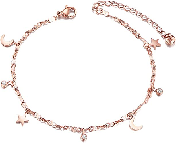 SHEGRACE 18K Gold Plated Flower Anklets with Cubic Zirconia Charm Foot Chain Beach Jewelry Anklet for Woman//Girls,Adjustable