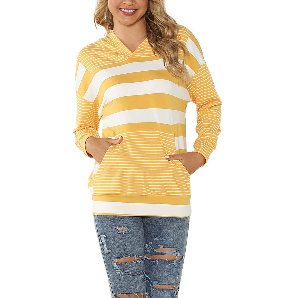 Ros1ock Women's Hoodies Stripe Casual Sweatshirts V-Neck Pullover Patchwork Long Sleeve Loose Tops Yellow by Ros1ock_Women's Tops