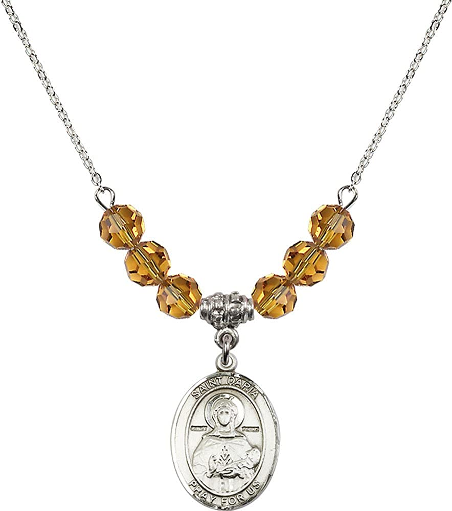 18-Inch Rhodium Plated Necklace with 6mm Topaz Birthstone Beads and Sterling Silver Saint Daria Charm.