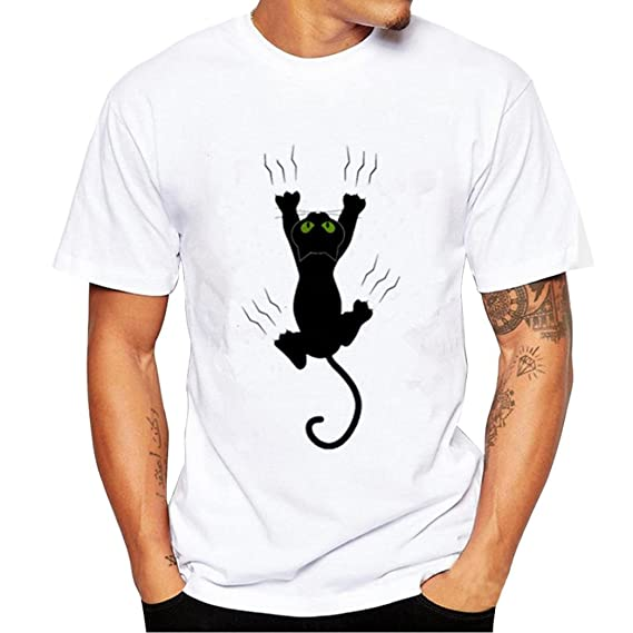 Camisetas Hombre Manga Corta, Venmo Hombres Gato Negro impresión ...