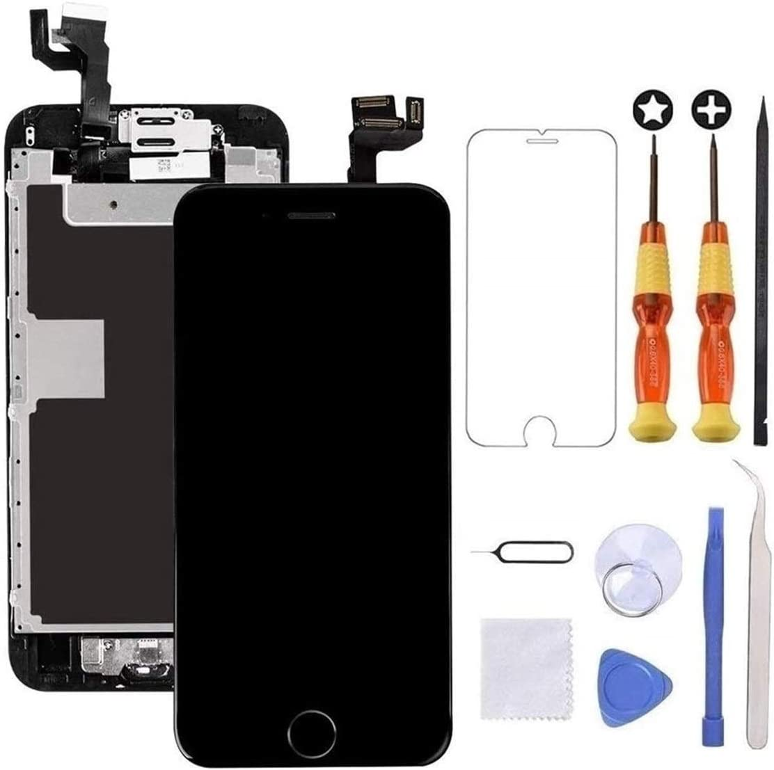 Brinonac for iPhone 6s Plus Screen Replacement Black Touch Display LCD Digitizer Full Assembly with Front Camera,Proximity Sensor,Ear Speaker and Home Button Including Repair Tool and Screen Protector