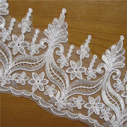 2 Yard Venice Floral Tulle Lace Edge Trim Ribbon 15 cm Width Vintage Style Ivory Edging Trimmings Fabric Embroidered Applique Sewing Craft Wedding Bridal Dress Veil Border Gauze DIY Clothes Decoration