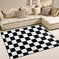 DEYYA Custom Checkered Non-slip Area Rugs Pad Cover 80 x 58 Inch, Black White Checkered Pattern Throw Rugs Carpet Modern Carpet for Home Dining Room Playroom Living Room Decoration