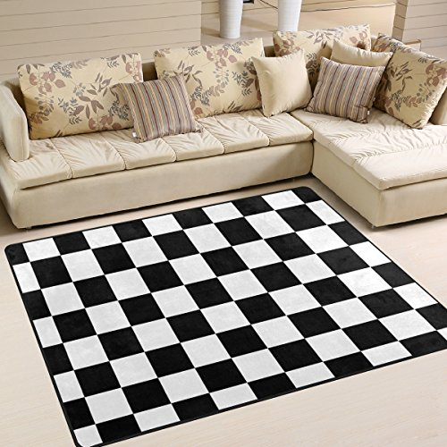 - DEYYA Custom Checkered Non-Slip Area Rugs Pad Cover 80 x 58 Inch, Black White Checkered Pattern Throw Rugs Carpet Modern Carpet for Home Dining Room Playroom Living Room Decoration