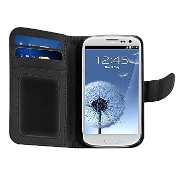 kwmobile Funda para Samsung Galaxy S3 / S3 Neo - Carcasa de [Cuero sintético] - Case con Tapa y [Tarjetero] en [Negro]