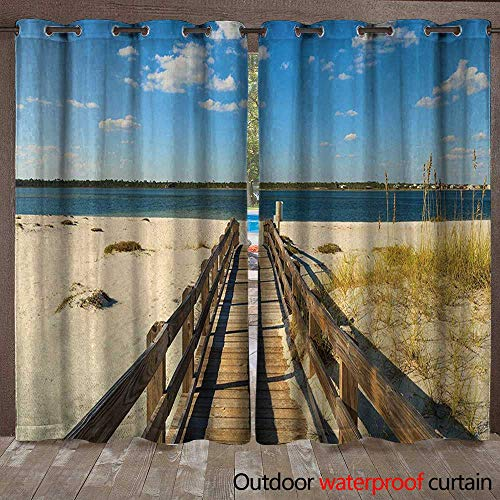 BlountDecor Beach Outdoor Curtain Panel for Patio Perdido Beach and Long Pier Deck Over Sand Gulf of Mexico South America Resort ThemeW108 x L108 Cream Blue (Lighted Right Pier)