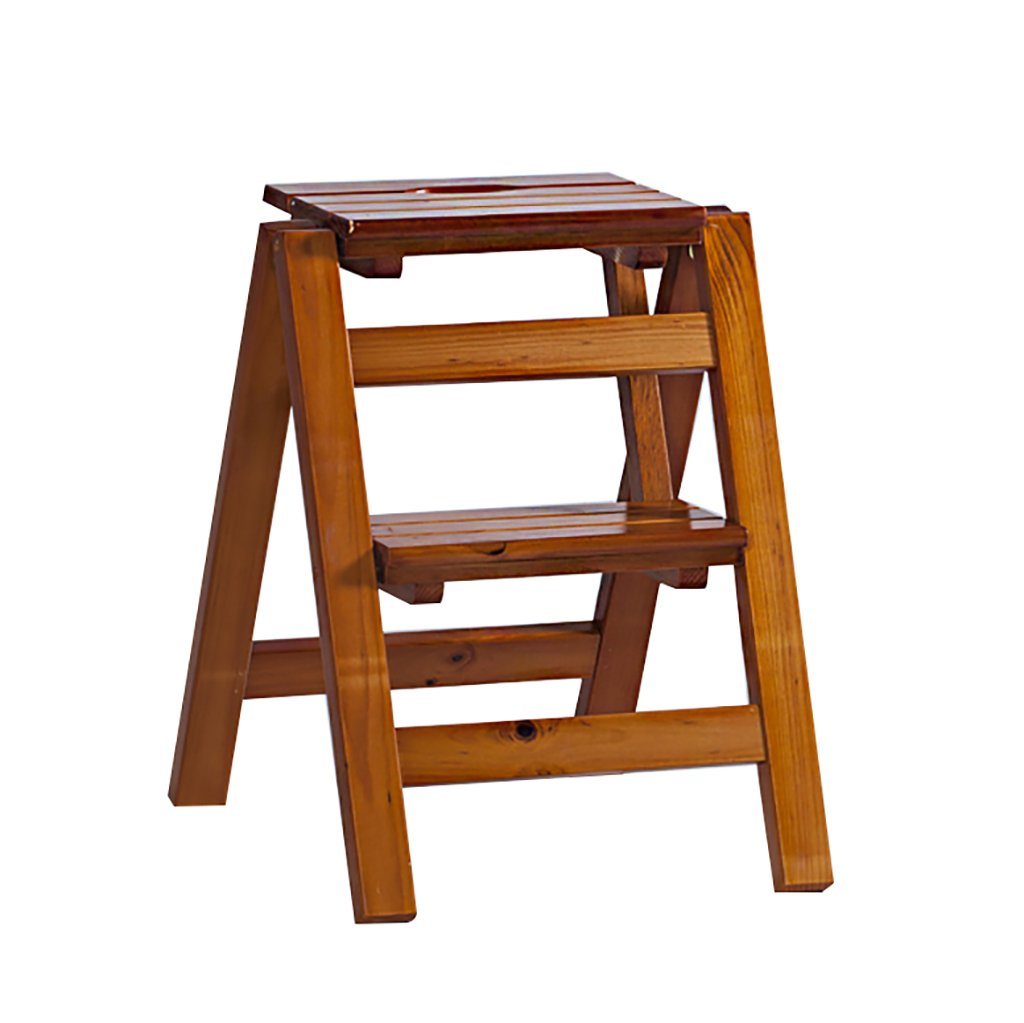 Brown 2 steps CIGONG Solid Wood Folding Step Stool, Wooden Flower Stand - Household Wooden Ladder Multi-Function Indoor Climbing Ladder Step Stool (color   Wood color, Size   2 Steps)