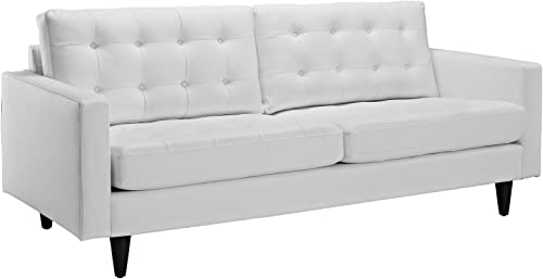 Modway Empress Mid-Century Modern Upholstered Leather Sofa and Two Armchair Set White