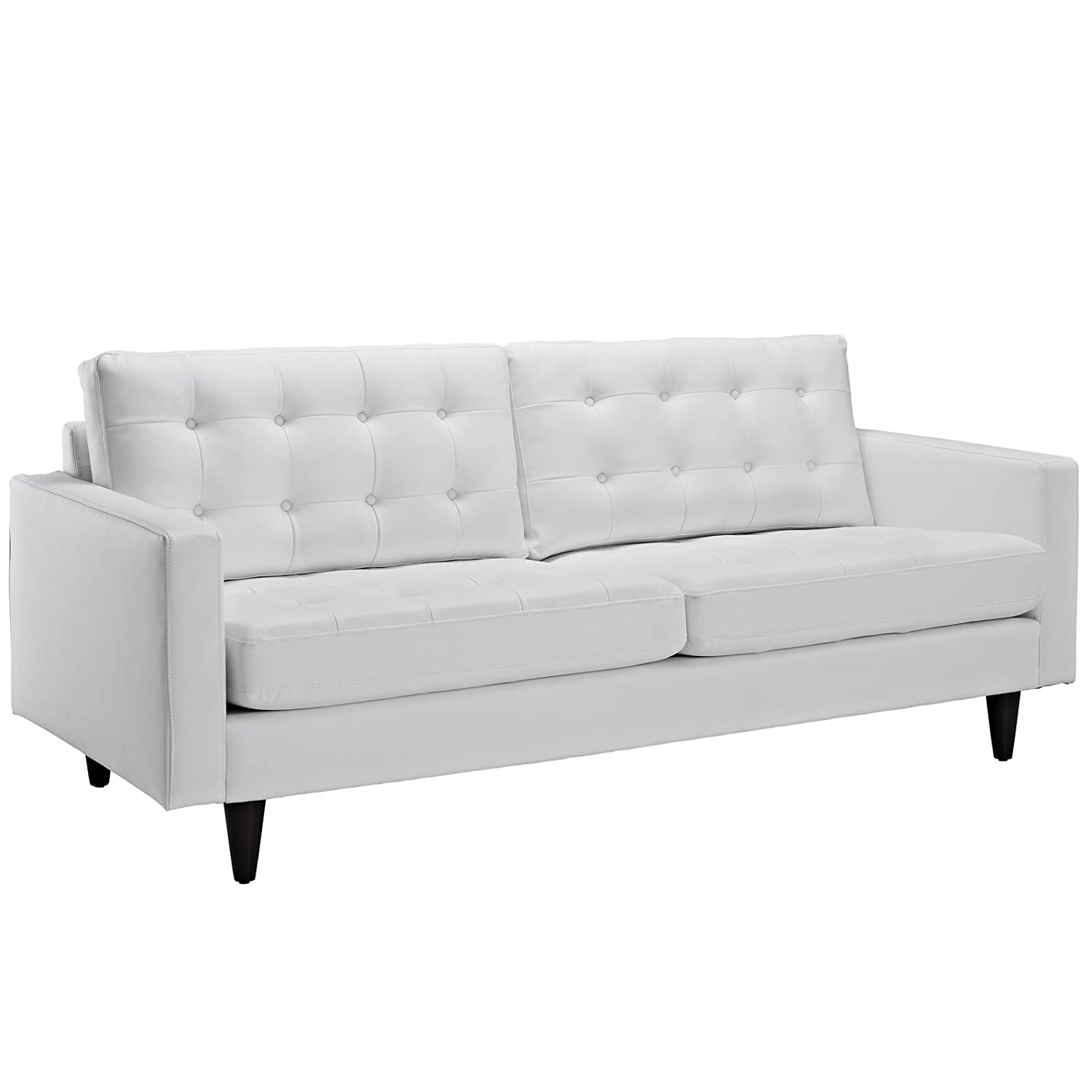 Modway EEI-1312-WHI Empress Mid-Century Modern Upholstered Leather Sofa and Two Armchair Set White