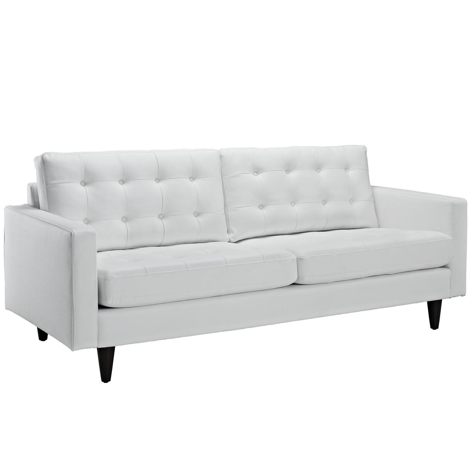 Modway Empress Mid-Century Modern Upholstered Leather Sofa In White by Modway