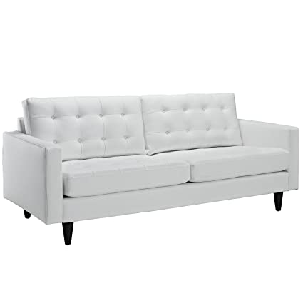 Amazon.com: Mid Modern Loft Tufted Leather Sofa in White ...