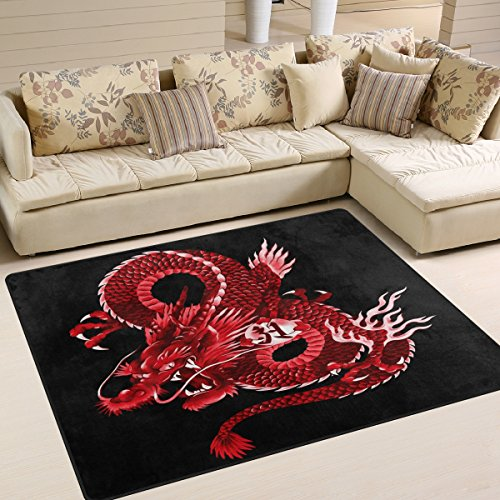 ALAZA Japanese Red Dragon Area Rug Rugs for Living Room Bedroom 5