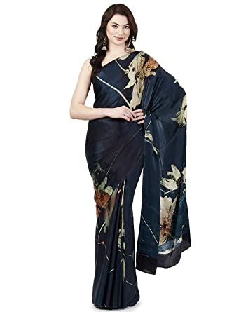 48cfc0d08b Satya Paul Georgette Saree with Blouse Piece (RD11913_01_Turquoise  Blue_Free Size): Amazon.in: Clothing & Accessories