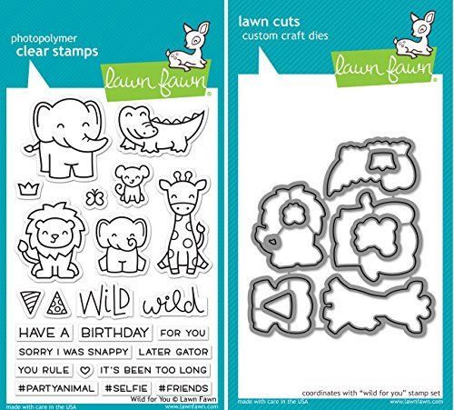 Lawn Fawn Wild for You Stamp and Die Bundle (LF1413) and (LF1414) - Alligator Treasures Collection