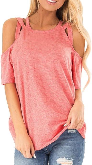 MOTOCO Mujer Camiseta de Manga Corta/Camiseta Corta Ropa de Trabajo de Oficina Camisas con Cuello en v Sin Mangas Chiffon Tops Casuales Oversize Top(S, Rosado): Amazon.es: Ropa y accesorios