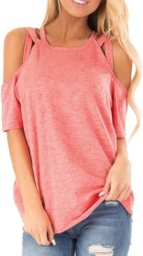 MISSWongg Elegante Camisetas Poliéster Strapless Solid Color ...