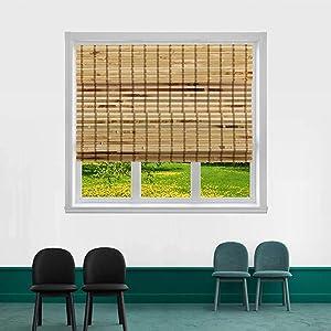 "TJ GLOBAL Cordless Flatstick Bamboo Roman Window Blind Sun Shade, Light Filtering Shades with 7-Inch Valance - Light Bamboo (32"" x 64"")"