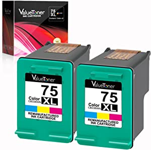 Valuetoner Remanufactured Ink Cartridge Replacement for HP 75XL High Yield CH624BN CB338WN (2 Tri-Color) 2 Pack