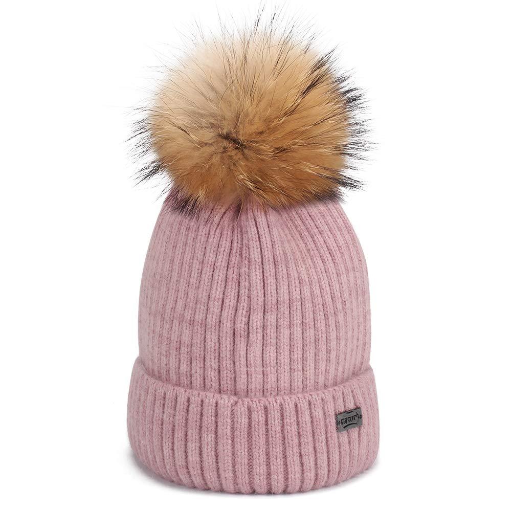173a16ebfad Amazon.com  FURTALK Winter Knit Pom Pom Hat - Angora Wool Beanie Hats for  Women Kids Toddler One Size