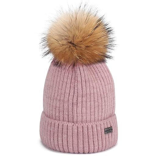 805299b885d FURTALK Winter Knit Pom Pom Hat - Angora Wool Beanie Hats for Women Kids  Toddler (