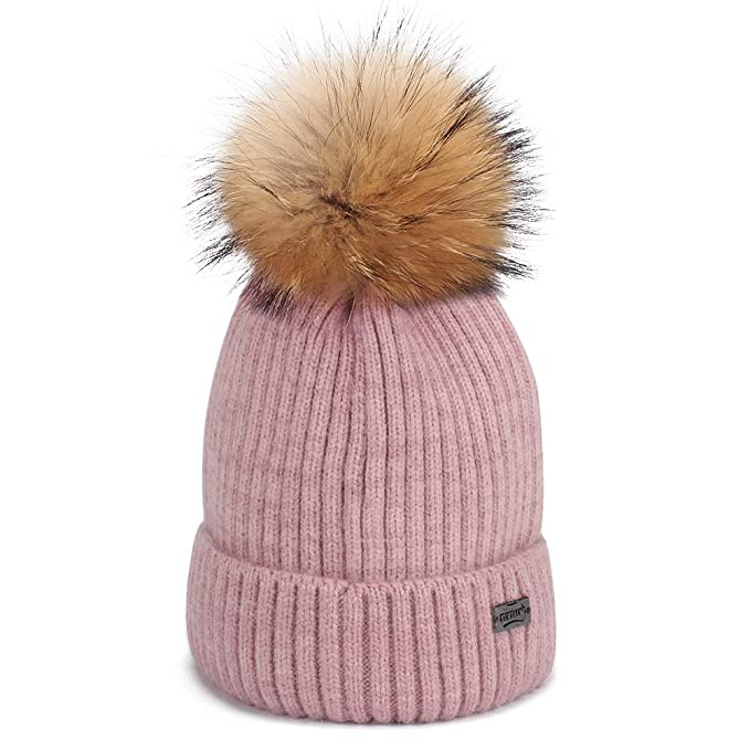 ccab0f6f155 FURTALK Winter Knit Pom Pom Hat - Angora Wool Beanie Hats for Women Kids  Toddler One