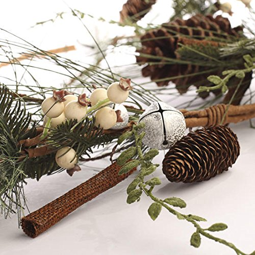 Factory Direct Craft Mixed Evergreen, Pine Cone, Silver Glitter Bell, Creamy Berry and Burlap Stick Garland for Home Decor, Christmas Embellishing and More ()
