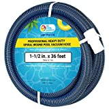"""U.S. Pool Supply 1-1/2"""" x 36 Foot Professional Heavy Duty Spiral Wound Swimming Pool Vacuum Hose with Swivel Cuff"""